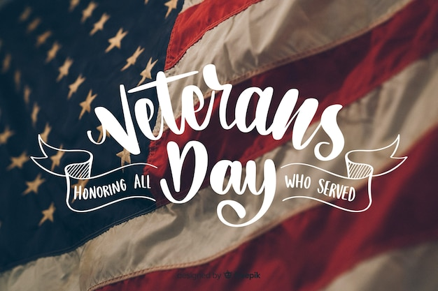 Veterans day lettering with photo Free Vector