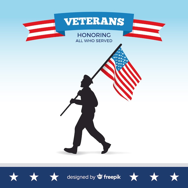 Veterans day man silhouette background Free Vector