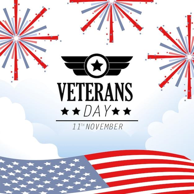退役軍人の日記念の花火のお祝い Premiumベクター