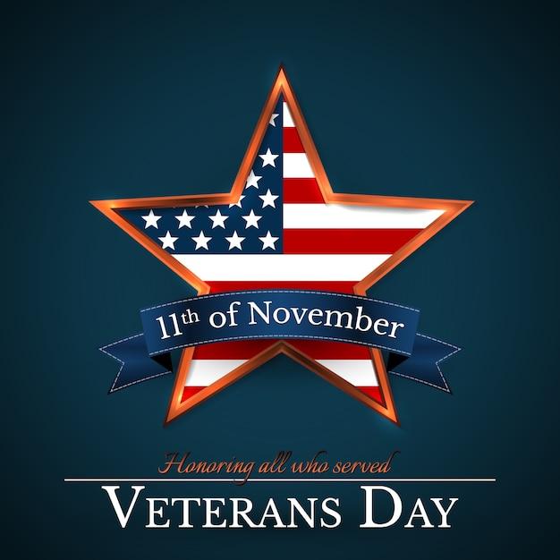 День ветеранов сша со звездой в цветах национального флага американский флаг. чествование всех, кто служил. Premium векторы