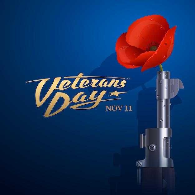 День ветеранов. красный мак вставлен в ствол старой американской винтовки Premium векторы