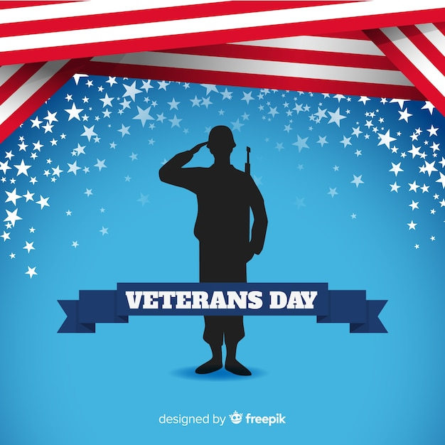 Veterans day soldier silhouette background Free Vector