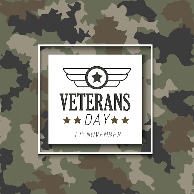 Veterans day with emblem over military cloth background Premium Vector