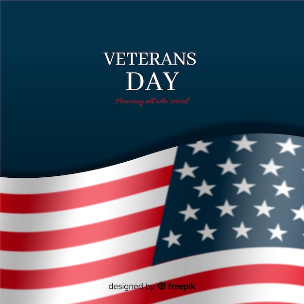 Veterans day with realistic flag and dark background Free Vector