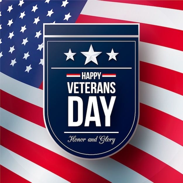 Veterans day with realistic flag Free Vector