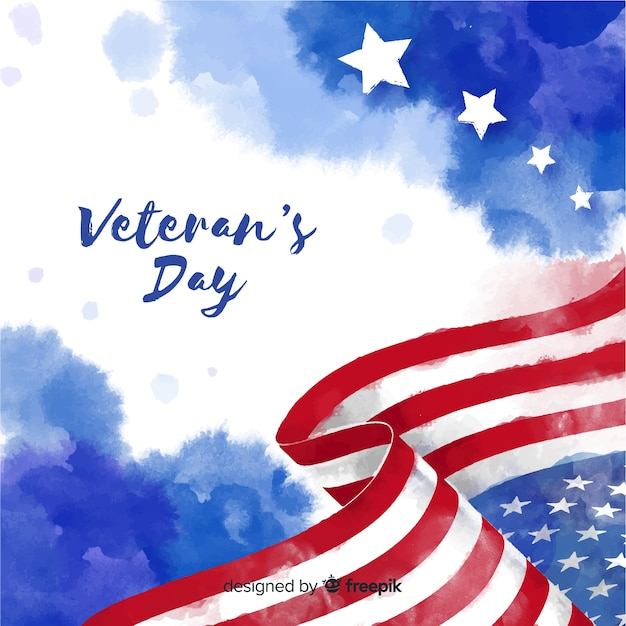Veterans day with watercolor flag background Free Vector