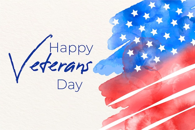 Veterans day with watercolor flag Free Vector