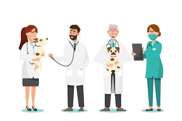 Veterinarian and doctor with dog in vet clinic Premium Vector