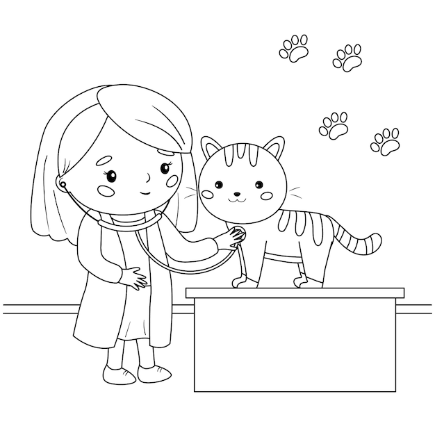 Premium Vector Veterinarian With A Stethoscope Listens To A Cat Coloring Page For Children