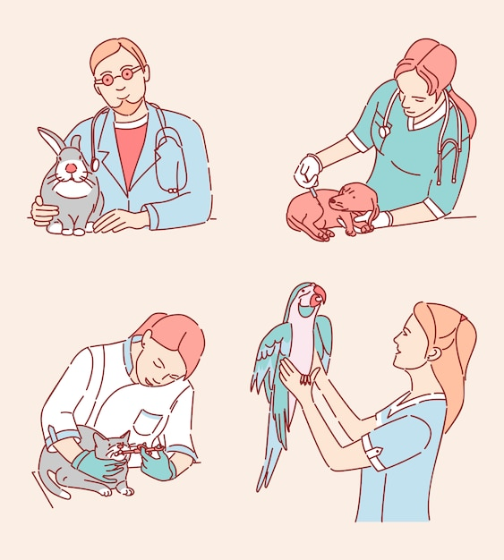 Veterinarians with patients illustrations set. medical specialists treating domestic animals cartoon characters. vet clinic services, pet doctor profession design elements pack Premium Vector