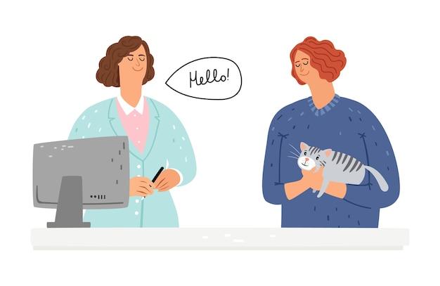 Ветеринарная помощь кошке. Premium векторы