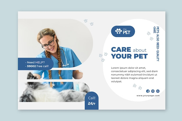 Veterinary banner template Free Vector