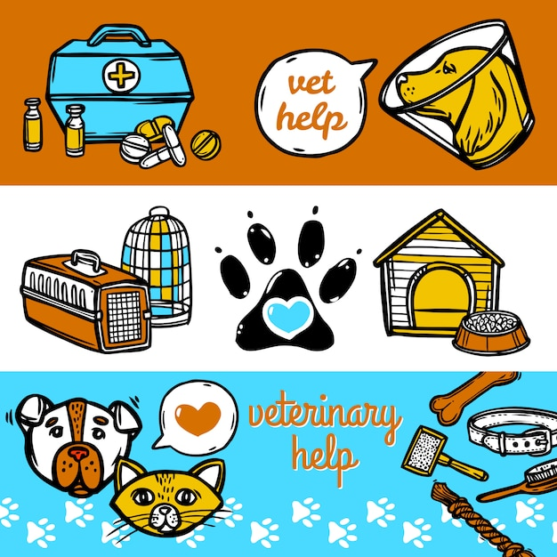 Veterinary banners set Free Vector