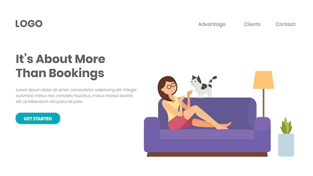 Veterinary booking. happy pet owner Premium Vector