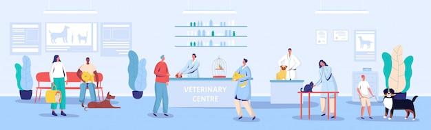 Ветеринарный центр приемной и приемной иллюстрации Premium векторы