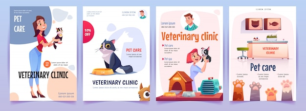 Veterinary clinic banners set. vet service posters Free Vector