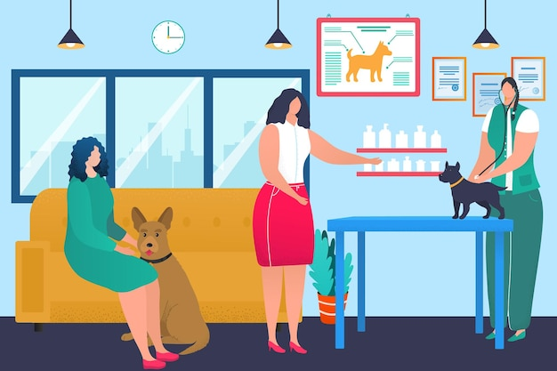 Premium Vector | Veterinary clinic concept, doctor veterinarian care about  dog pet