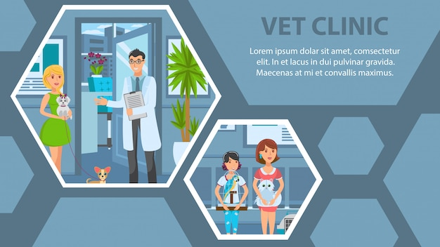 Veterinary clinic flat web banner vector template Premium Vector