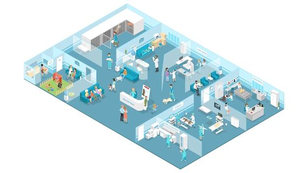 Интерьер ветеринарной клиники с приемной, залом ожидания, осмотром и операционными. Premium векторы