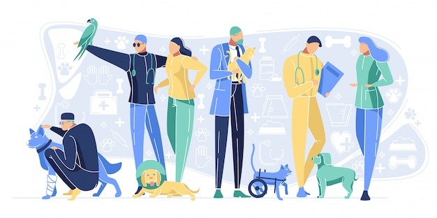 Veterinary clinic staff with animals pets hospital Premium Vector