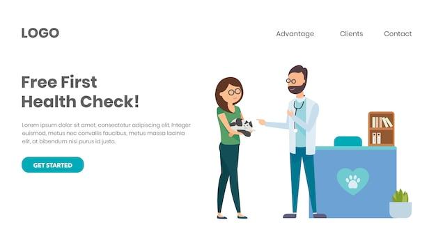 Veterinary consultant with pet owner Premium Vector