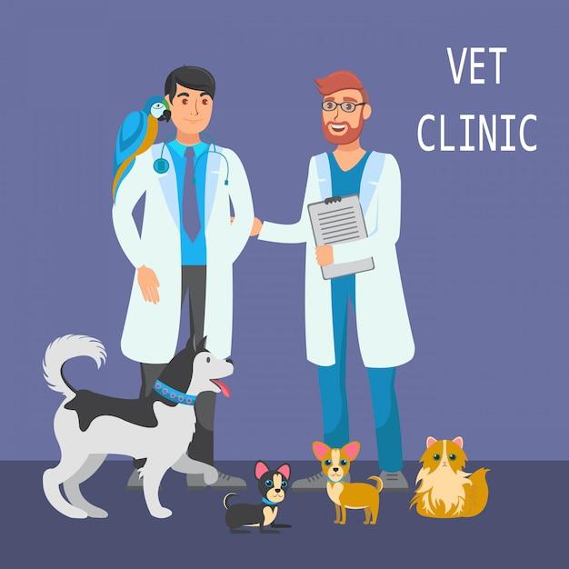 Veterinary consultation flat color illustration Premium Vector