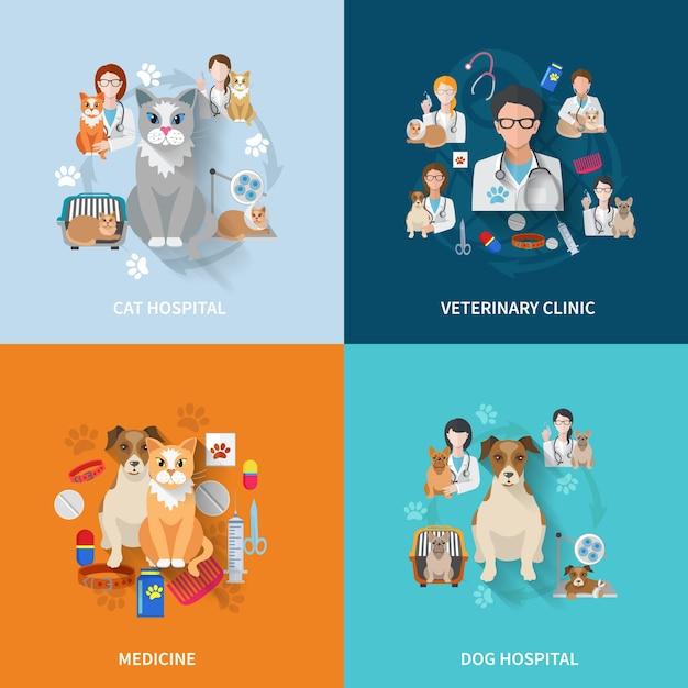 Veterinary flat set Free Vector