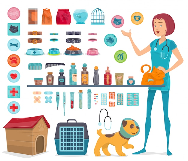 Veterinary icons collection Free Vector