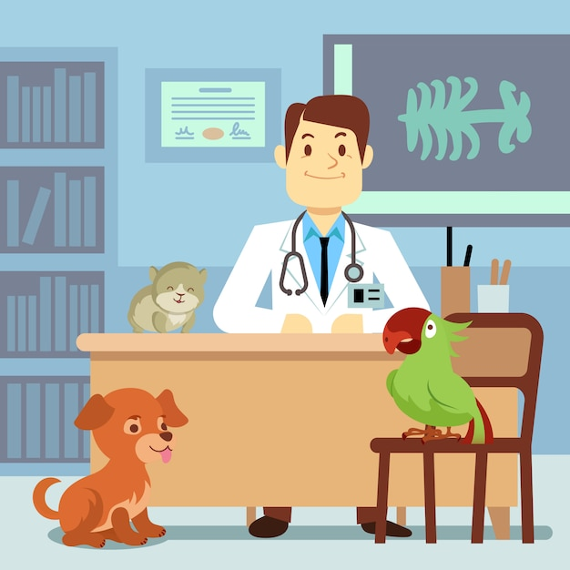 Premium Vector | Veterinary office with doctor and pets