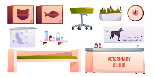 Veterinary vet clinic furniture and stuff isolated Free Vector