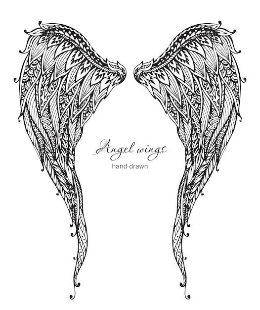 Vetor рисованной богато украшенные крылья ангела, стиль zentangle Premium векторы