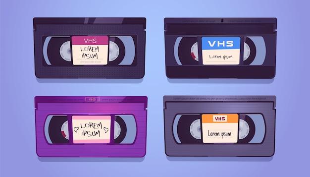 Cassette vhs, vecchi nastri per impianto video domestico e videoregistratore. insieme del fumetto di vettore di cassette vintage Vettore gratuito