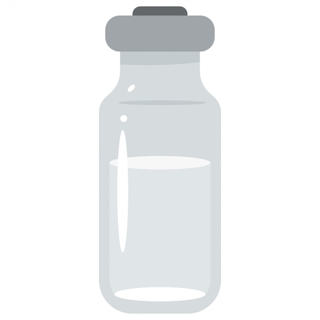 Vial medical glass isolated on white Premium Vector