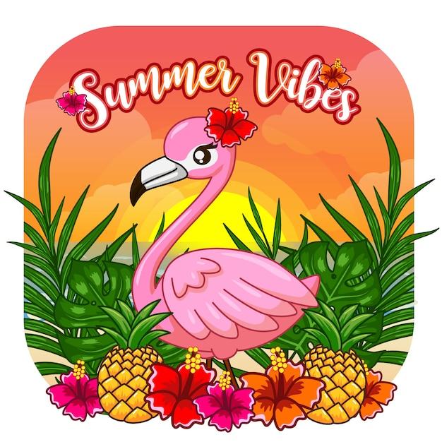 Симпатичные летние vibes flamingo Premium векторы