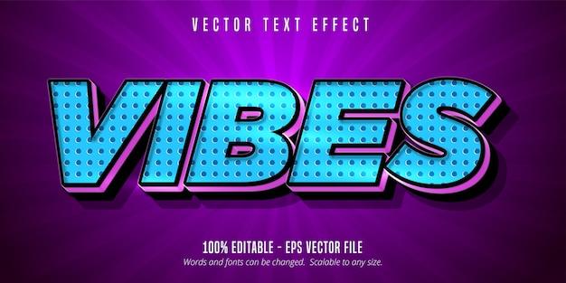 Vibes text, cartoon style editable text effect Premium Vector