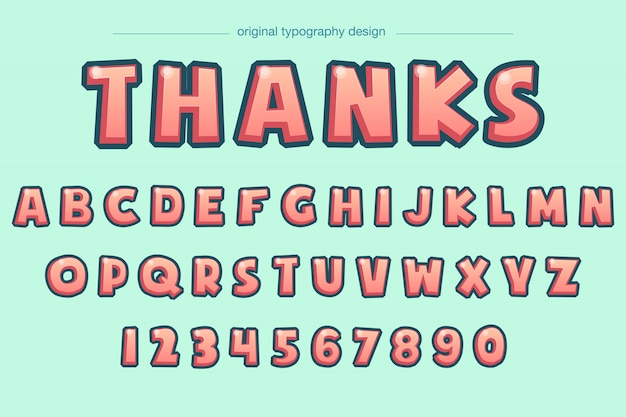 Vibrant bold bevel comic typography design Premium Vector