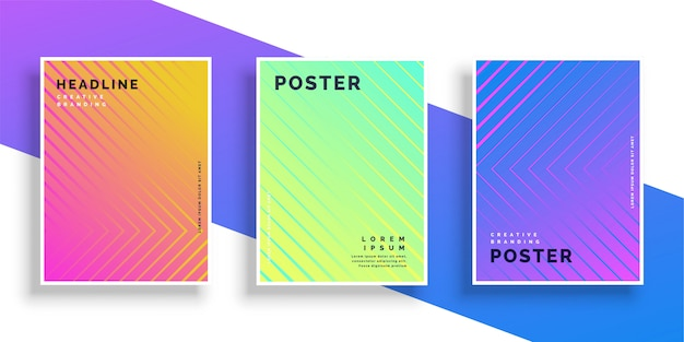 Vibrant bright color line pattern poster design set Free Vector