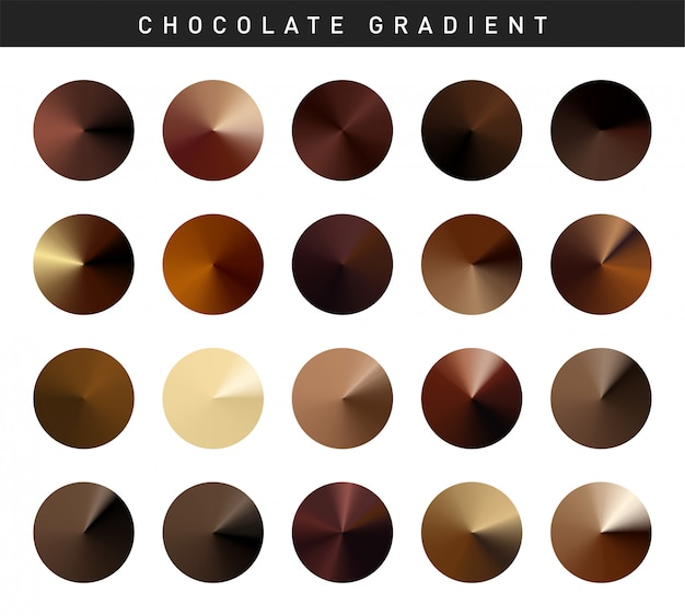 Vibrant chocolate gradients swatches set free Premium Vector