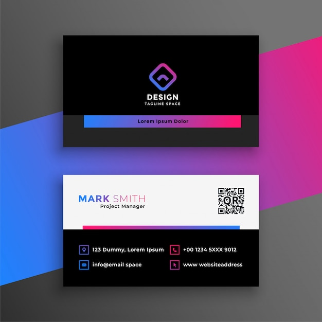 Vibrant clean business card modern template Free Vector