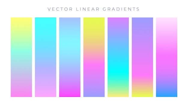 Vibrant colorful hologram color gradients Free Vector