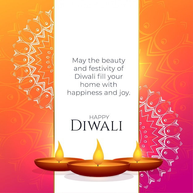 Vibrant diwali greeting design with mandala decoration Free Vector
