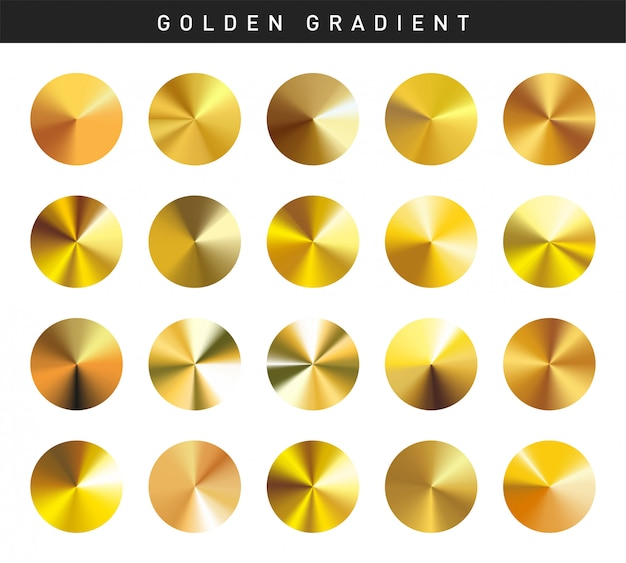 Vibrant golden gradients swatches set free Premium Vector