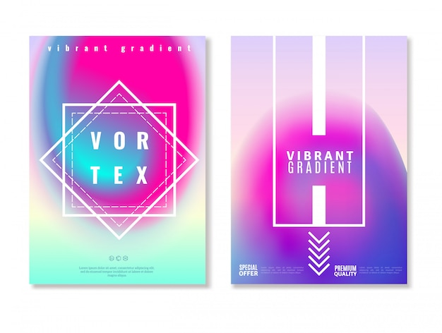 Vibrant gradient design banners Free Vector