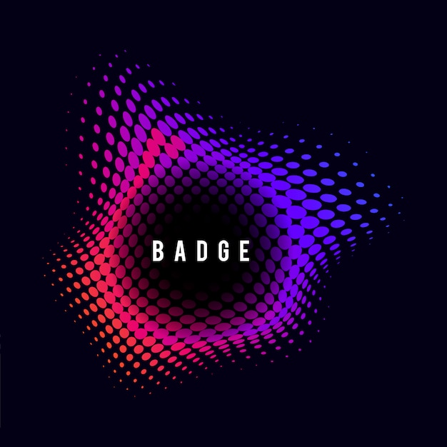 Vibrant halftone badge on black background Free Vector