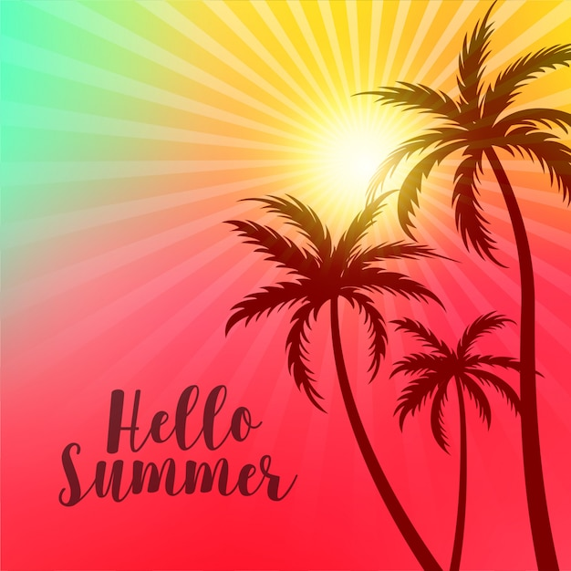 Vibrant hello summer poster with palm trees and sun Free Vector