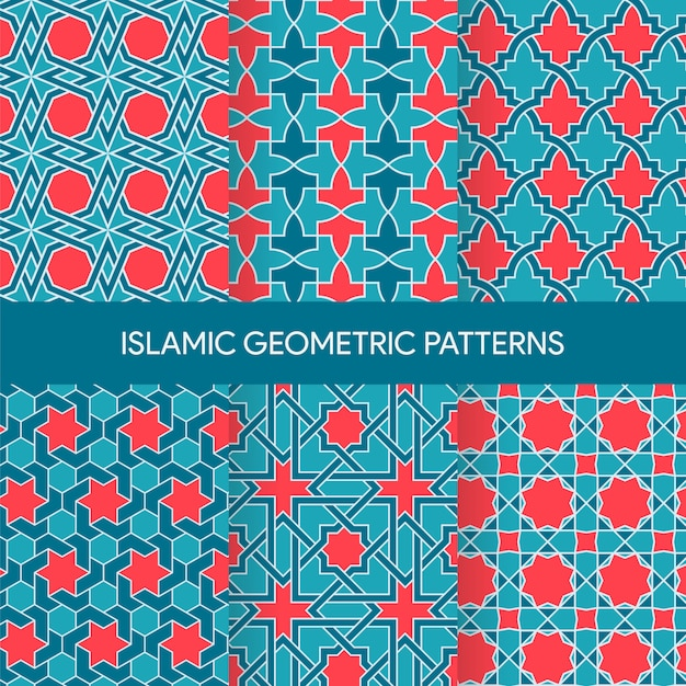 Vibrant islamic seamless patterns textures collection Premium Vector