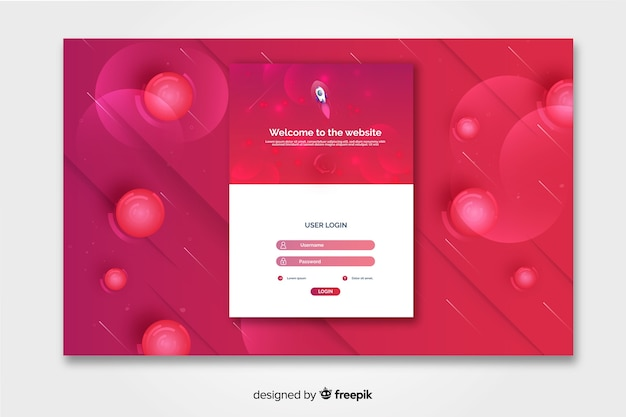 Vibrant log in landing page with circles Free Vector