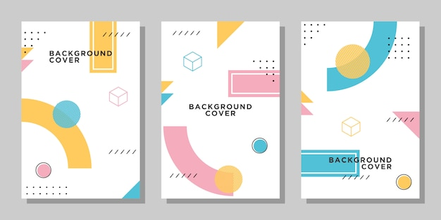 Vibrant memphis  layout collection Premium Vector