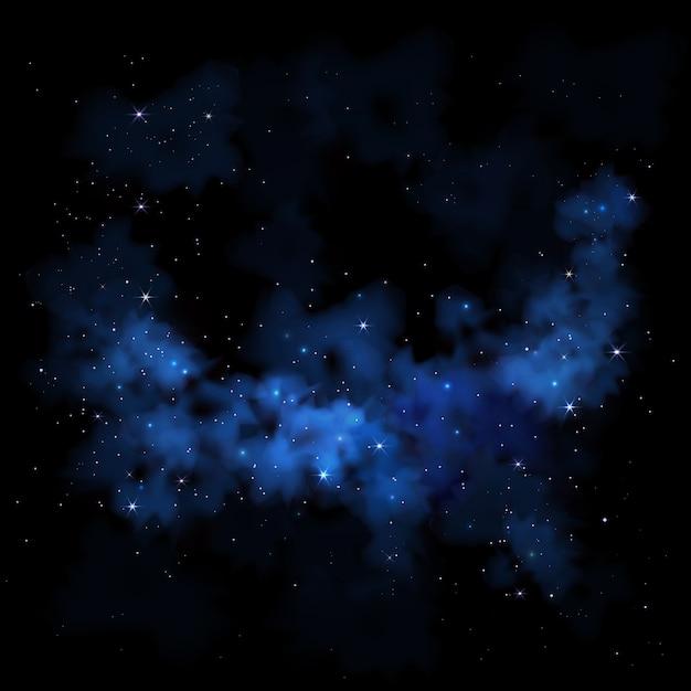 鮮やかな夜空天の川宇宙銀河星雲雲星 Premiumベクター