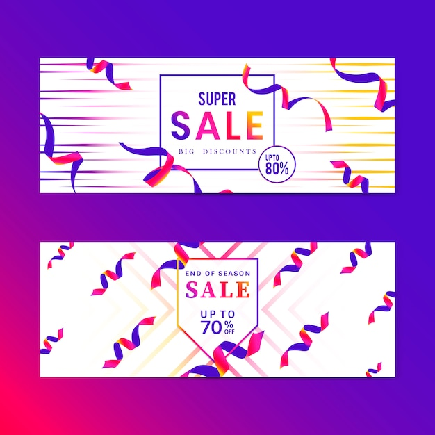 Vibrant pink sale sign vector set Free Vector